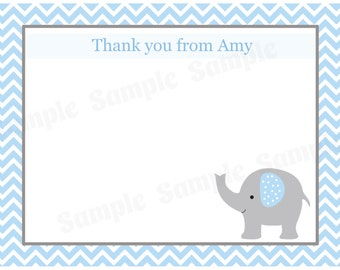 20 Personalized Baby Shower Thank You Cards   Elephant