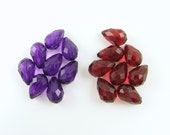 Lot of Purple and Red Faceted Teardrop Acrylic Beads 18mm x 12mm OB1-1