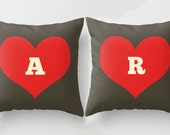 Two Custom Monogram Pillow Cover - throw pillow set of 2 - Letter Initial Pillows - anniversary gifts for men - monogrammed gifts - custom
