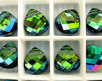 4 Aquamarine Green Sphinx Swarovski Crystals Pendants Briolette 6012 11mm