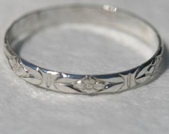 Silver Flower Ring , US Size 11 , Sterling Floral Ring ,Sterling Silver Stackingl Band , Silver Ring Maggie McMane Designs