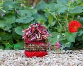 NEWBORN Photography Prop - Baby Knit Hat - Twin Prop - Christmas - Handdyed and Handspun yarn