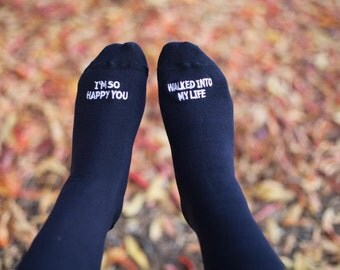 "Grooms Wedding Gift, Father in Law for Walking Down the Ailse, or GROOM - ""I'm So Happy You Walked into My Life""- Wedding Socks"