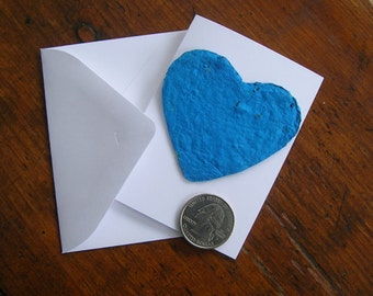 Plantable seed paper heart - Mini card set with envelope - SAMPLE of ONE card and envelope - Garden wedding place card, unique wedding favor