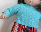 Bitty or Twins Doll Clothes - Multi-colored Corduroy Pants and Aqua Sweater
