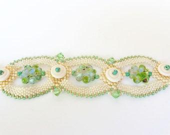 Cream and Green Flowers Beadweaving Bracelet - Peyote Stitch Bead Weaving Bracelet