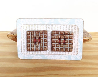 Textured Grid Square Stoneware Buttons in Blue Shino Glaze - Set of 2