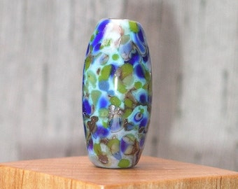 Handmade Glass Lampwork Focal Bead Organic Cobalt Blue and Copper Green