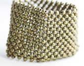 Woven Bead Cuff Bracelet - a wide cuff of woven beads in antique brass or silver toned metal (B17)