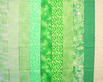 BRIGHT GREEN 100% cotton Prewashed Quilt Jelly Roll, Fabric Strips (#C/68A)