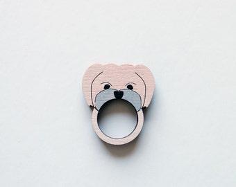 Maltese Shih Tzu Dog Wooden Ring