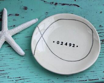 Zip Code Dish with Stitching Design, Personalized Trinket Dish with Zip Code, Custom Ceramic Dish with Zip Code