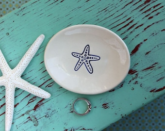 Small Oval Dish with Navy Blue Starfish