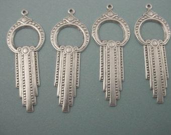 4 silver ox art deco cascade hoop charms 40mm