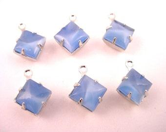6 Vintage Light Blue Moonstone Square Glass Drops 8x8 silver tone settings charms