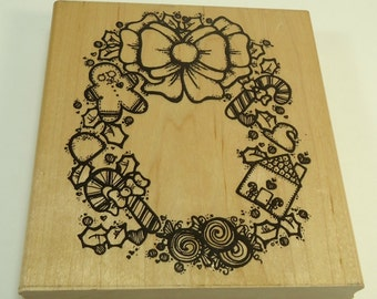 Large Sugarplum Wreath Christmas Wood  Mounted Rubber Stamp By DOTS