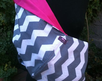 Baby Sling  Baby Carrier - Gray Chevron Hot Pink Lining