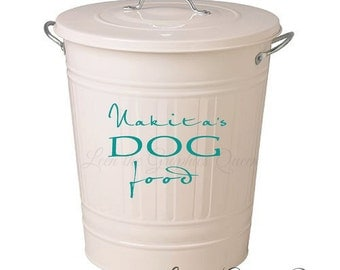 Customized Dog Food - Storage Container DECAL with Name - Removable Vinyl Decal Pet Care  Dog Name Personalized