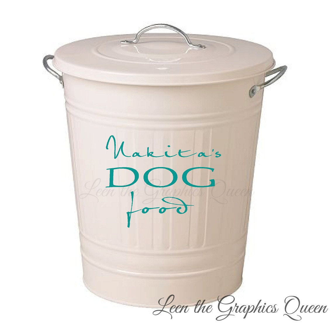 customized dog food storage container decal with name. Black Bedroom Furniture Sets. Home Design Ideas