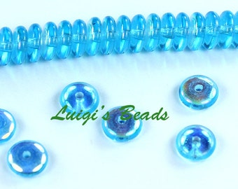 50 Aquamarine AB Czech Glass Rondelle Spacer Beads 6mm