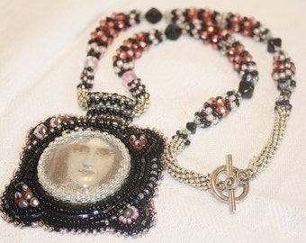 Victorian Goddess Bead Embroidered Pendant Necklace