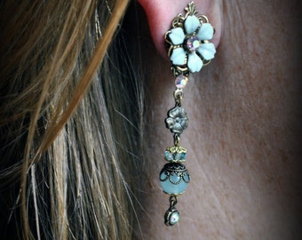 Long pastel blue flower blossom earrings in Marie-Antoinette style. One of a kind. Antique Gold And Swarovski Crystal