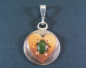 Silver Pendant With Copper Heart And Jade