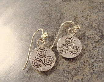 Hand Engraved Sterling Silver Newgrange Spiral Earrings