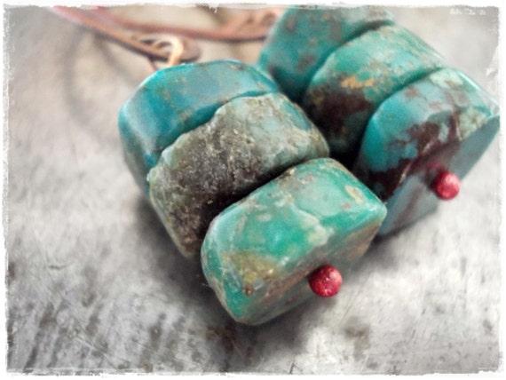 Natural turquoise earrings turquoise and copper earrings gemstones forged rosey copper dangle earrings drop earrings men women tribal