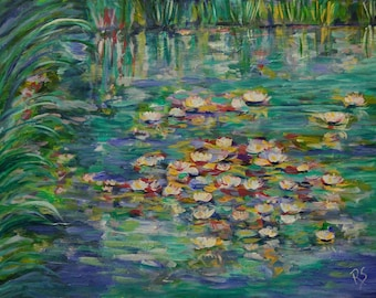 Water Lilies In the Afternoon - Original Painting
