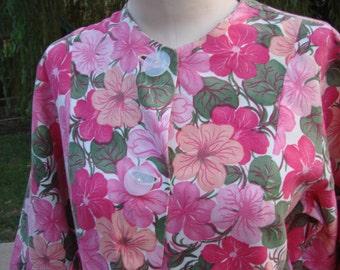 Vintage Ladies' Vivid Pink Floral Shirt Jacket
