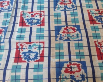 Vintage Unopened Blue Red and Aqua Checks and Floral Cotton Feed Sack Fabric Quilting and Repurposing