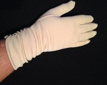 Pair of Vintage Ladies' Ecru Nylon Gloves