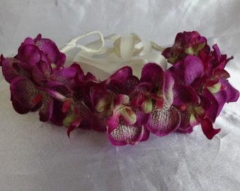 Flower Crown Bridal Hair Wedding Hair Orchid Headpiece Coachella Violet Flower Hair Wreath Floral Head Wreath