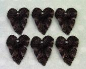 Leaf Charm, Trinity Brass Matte Black, 6 Pieces,  MB34