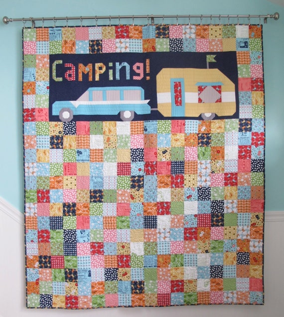 SALE Vintage Camping Quilt and Cushion PATTERN by Lori Holt