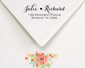Return Address Stamp, Custom Self Inking Stamp, Wedding invitations, Calligraphy Style Address Stamp, Julie and Richard Design