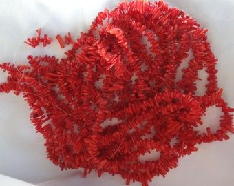 16 inch Strand Dyed Red Mini Coral Branch Beads Center Drilled 5-12mm Long A547
