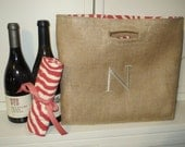 Not Your Usual Wine Bag or Tote Monogrammed or Personalized Double Two Bottle Lined Burlap
