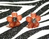 Brown Daisy Earrings, Copper Flower Studs, Floral Rhinestone Earrings