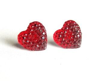 Red Heart Earrings, Red Rhinestone Studs, Simple Textured Resin Earrings