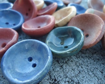 20 Thumbprint Stoneware Buttons SALE