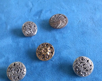 5 Cut Out Mirrored Vintage Metal Buttons 3 are Matching
