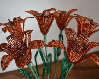 6 Handmade french beaded flowers lilies LARGE Tiger lily flower