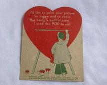 vintage  1930's Valentine E Rosen candy lolliepop , sucker  CARD