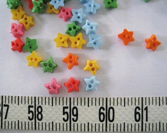 100 pcs of Tiny Star Button - 5mm Yellow Blue Pink Orange Red Green