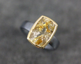 Golden Rutilated Quartz Cocktail Ring, Blackened Sterling Silver and 14k Yellow Gold
