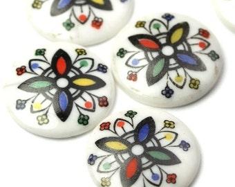 Vintage Japanese Glass Cabochons Floral 14mm (6) RL47