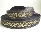 3  yards GOTHIC PAISLEY Jacquard trim, purple, metallic gold, on black. 1 3/8 inch wide. 979(2)-C