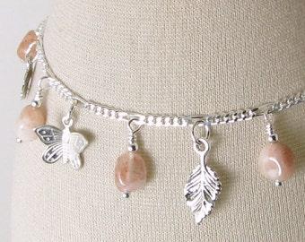 Sunstone Garden Sterling Silver Charm Bracelet